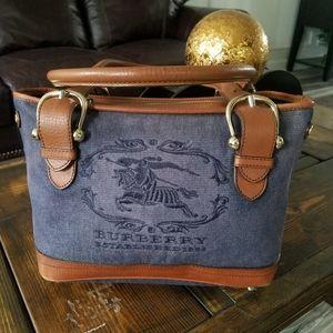 Burberry denim and leather handbag.
